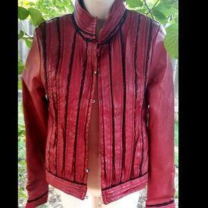 Red Faux Leather Moto Jacket w/Black Lace Trim